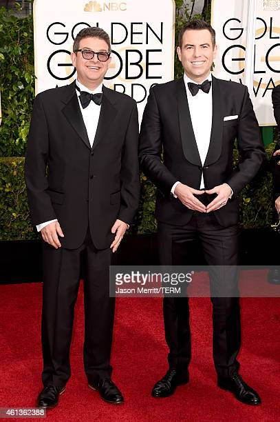Producers David Livingstone and Stephen Beresford attend the 72nd Annual Golden Globe Awards at The Beverly Hilton Hotel on January 11 2015 in...