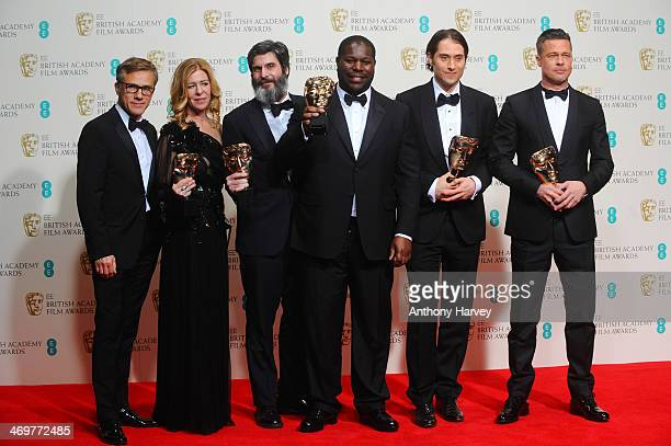Producers Dede Gardner Anthony Katagas director Steve McQueen producers Jeremy Kleiner and Brad Pitt winners of the Best Film award and actor...