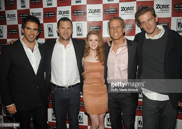 Producers Eli Roth Eric Newman actress Ashley Bell actor Patrick Fabian and director Daniel Stamm attend The Last Exorcism Ford Screening during the...