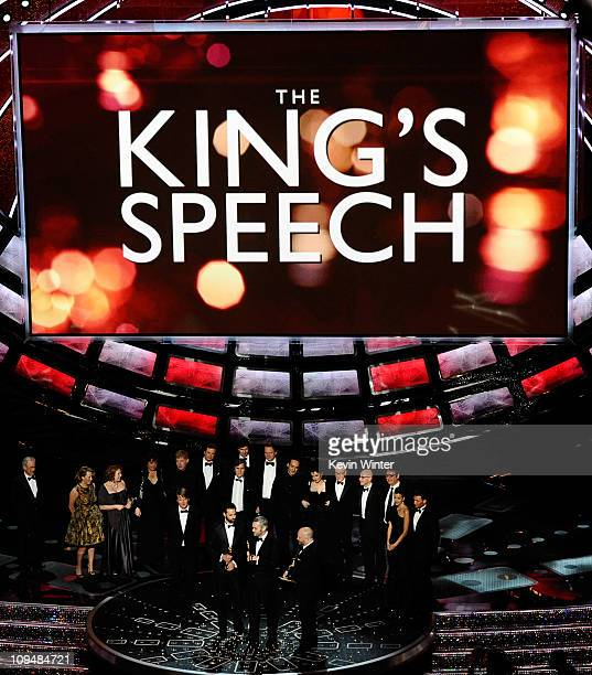 Producers Emile Sherman, Iain Canning and Gareth Unwin accept the award for Best Motion Picture of the Year for 'The King's Speech' onstage during...