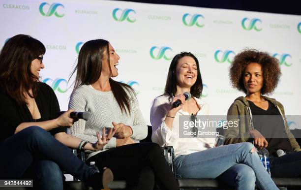 """Producers Emily Andras and Vanessa Piazza, actresses Zoie Palmer and Erica Luttrell speak at the """"Lost Girl Reunion"""" panel during the ClexaCon 2018..."""