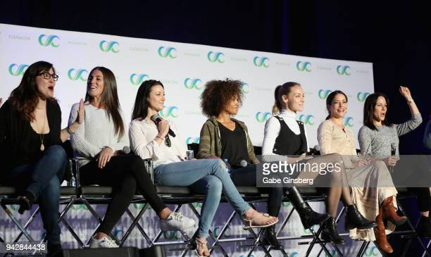 Producers Emily Andras and Vanessa Piazza actresses Zoie Palmer Erica Luttrell Rachel Skarsten Emmanuelle Vaugier and Anna Silk speak at the 'Lost...