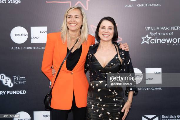 Producers Emma Comley and Sadie Frost attend a photocall for the World Premiere of 'Two for joy' during the 72nd Edinburgh International Film...