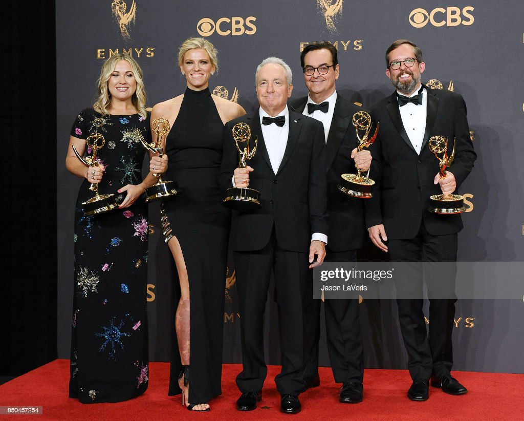 Producers Erin Doyle, Lindsay Shookus, Lorne Michaels, Steve Higgins, and Erik Kenward, winners of Outstanding Variety/Sketch Series for 'Saturday Night Live,' pose in the press room at the 69th annual Primetime Emmy Awards at Microsoft Theater on September 17, 2017 in Los Angeles, California.