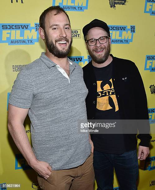 Producers Evan Goldberg and Seth Rogen attend the premiere of 'Sausage Party ' during the 2016 SXSW Music Film Interactive Festival at Paramount...