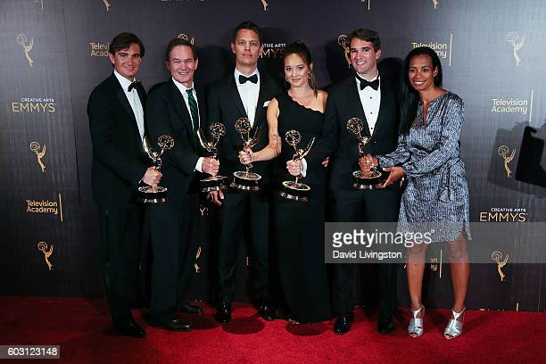 Producers from Jim The James Foley Story winner of Exceptional Merit In Documentary Filmmaking pose in the 2016 Creative Arts Emmy Awards Press Room...