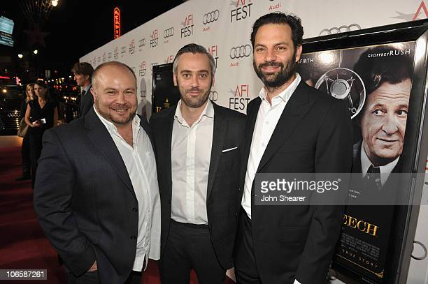 Producers Gareth Unwin Iain Canning and Emile Sherman arrive to The Weinstein Company's Premiere of 'The King's Speech' on November 5 2010 in...
