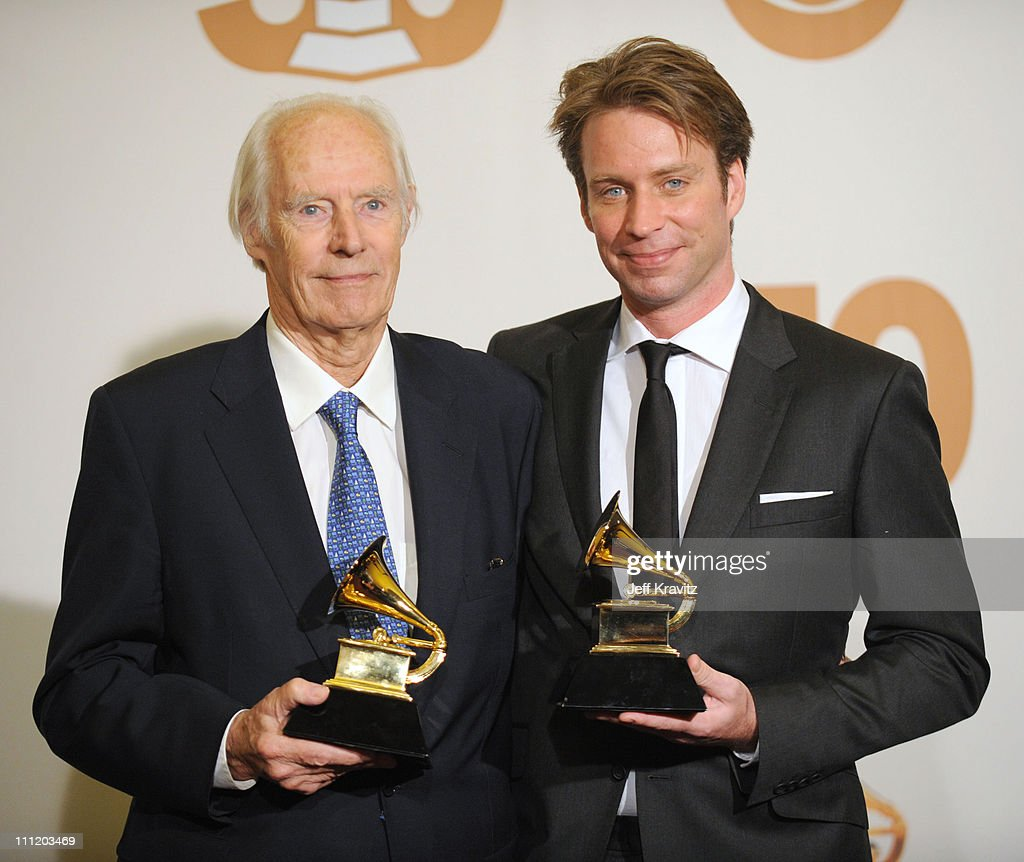 Producers George Martin and Giles Martin in the press room at the 50th Annual GRAMMY Awards at the Staples Center on February 10, 2008 in Los Angeles, California.