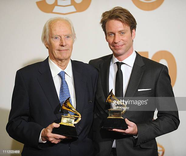 Producers George Martin and Giles Martin in the press room at the 50th Annual GRAMMY Awards at the Staples Center on February 10 2008 in Los Angeles...