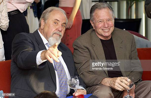 Producers George Schlatter and Mace Neufeld attend An Evening With Gore Vidal at the home of Paul Alan Smith on June 20 2005 in Los Angeles...