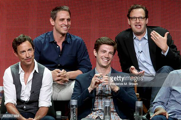 Producers Greg Berlanti and Andrew Kreisberg and actors Tom Cavanagh and Grant Gustin speak onstage at the 'The Flash' panel during the CW Network...