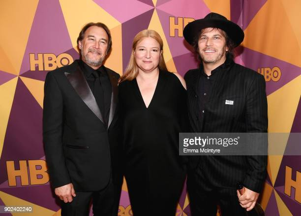 Producers Gregg Fienberg Bruna Papandrea and Nathan Ross attend HBO's Official Golden Globe Awards After Party at Circa 55 Restaurant on January 7...