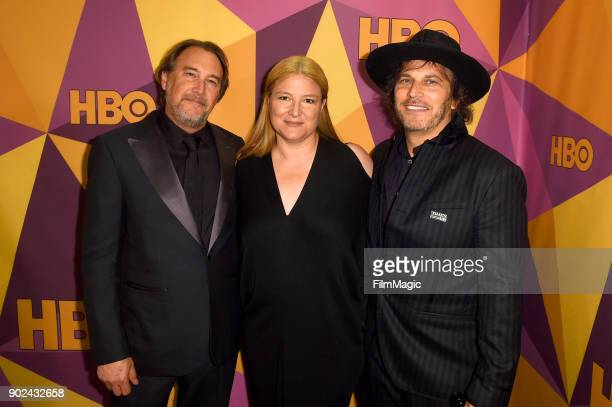 Producers Gregg Fienberg Bruna Papandrea and Nathan Ross attend HBO's Official 2018 Golden Globe Awards After Party on January 7 2018 in Los Angeles...