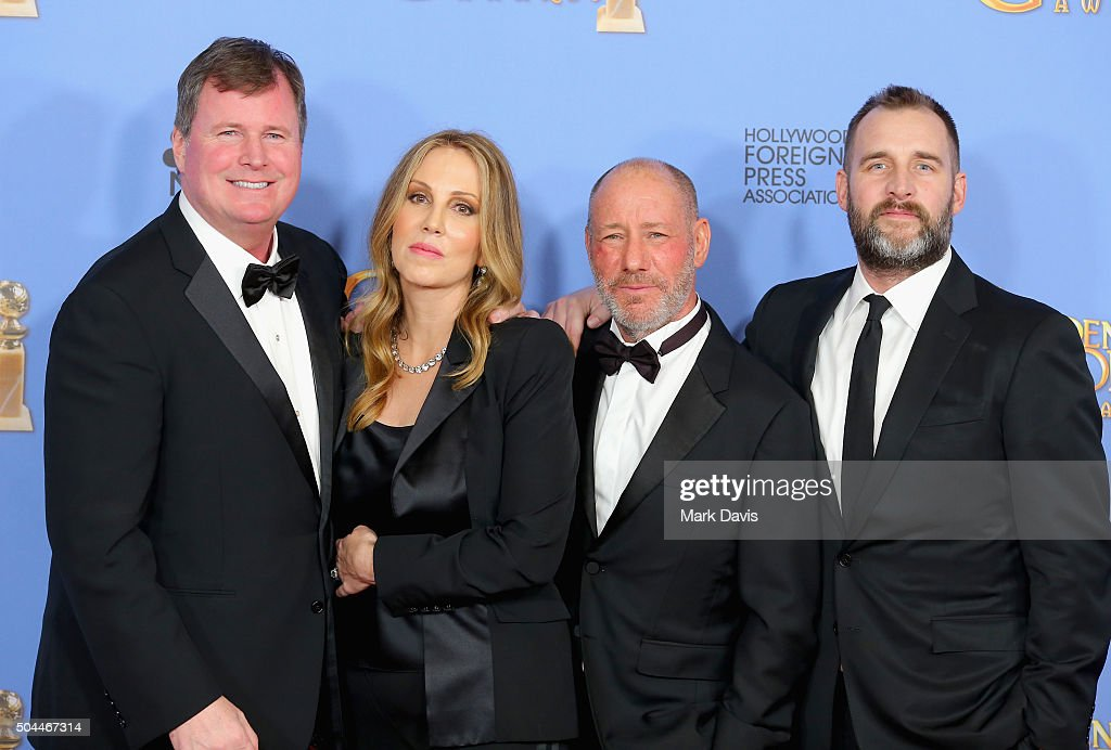 Producers James W. Skotchdopole, Mary Parent, Steve Golin and Keith Redmon, winners of Best Motion Picture - Drama for Motion Picture for 'The Revenant,' pose in the press room during the 73rd Annual Golden Globe Awards held at the Beverly Hilton Hotel on January 10, 2016 in Beverly Hills, California.