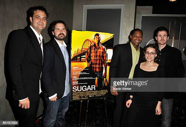 Producers Jamie Patricof Jeremy Kipp Walker actor Algenis Perez Soto directors Anna Boden and Ryan Fleck arrive at the Los Angeles premiere of...