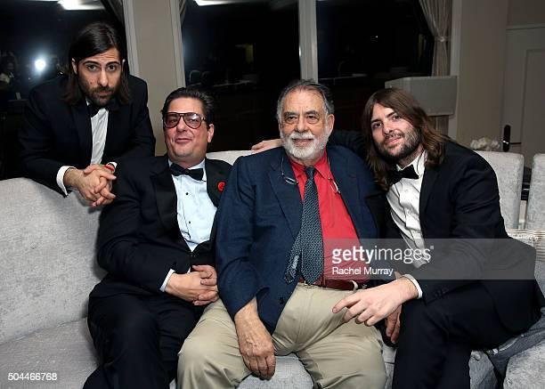 Producers Jason Schwartzman and Roman Coppola, director Francis Ford Coppola, and musician Robert Schwartzman attend Amazon's Golden Globe Awards...