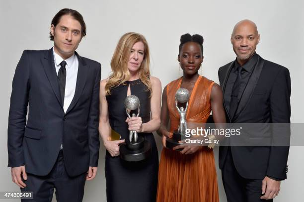 Producers Jeremy Kleiner and Dede Gardner actress Lupita Nyong'o winner of the Outstanding Supporting Actress in a Motion Picture award and...