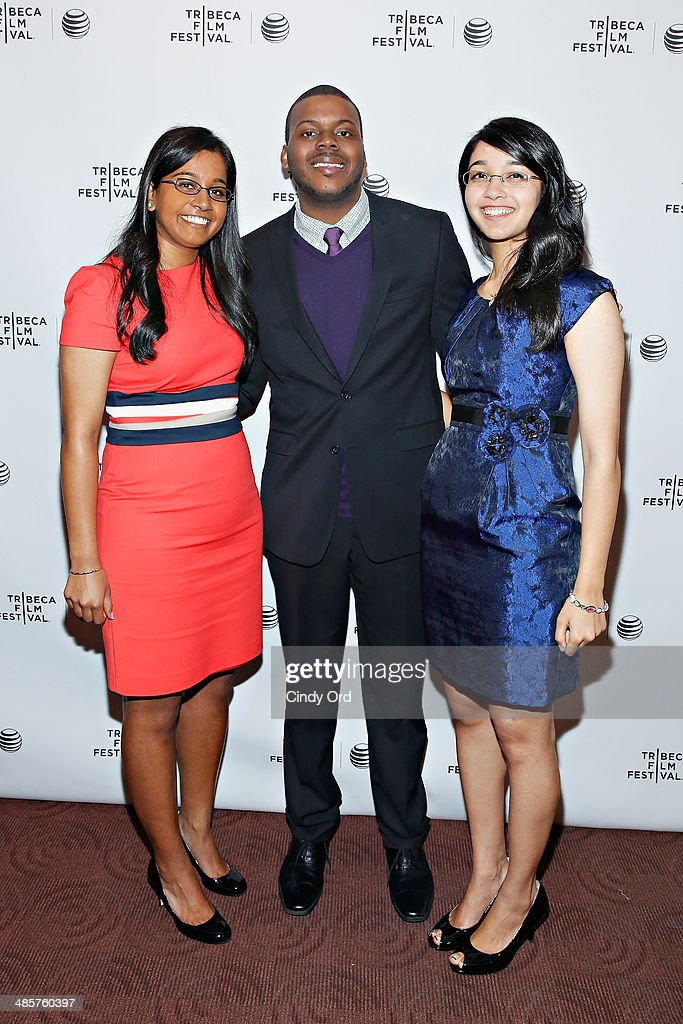 Producers Jhanvi Shriram and Ketaki Shriram pose with the films subject Michael Tubbs (C) at the 'True Son' Premiere - 2014 Tribeca Film Festival at Chelsea Bow Tie Cinemas on April 20, 2014 in New York City.