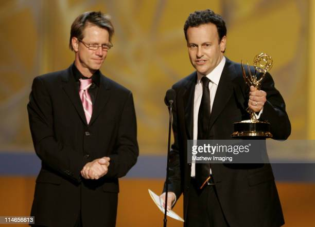 "Producers Jim Vallely and Mitchell Hurwitz, winners Outstanding Comedy Series for ""Arrested Development"""