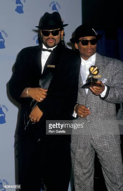 Producers Jimmy Jam and Terrence Lewis attend 29th Annual Grammy Awards on February 24 1987 at the Shrine Auditorium in Los Angeles California