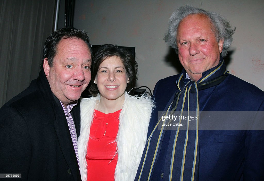Producers Jimmy Nederlander, Arielle Tepper and Graydon Carter pose backstage at the hit comedy 'I'll Eat you Last' on Broadway at The Booth Theater on April 5, 2013 in New York City.