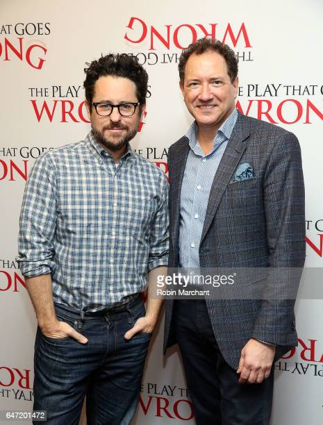 Producers JJ Abrams and Kevin McCollum attend A Press Conference Gone Wrong For 'The Play That Goes Wrong' at Lyceum Theatre on March 2 2017 in New...