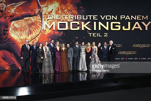 Producers John Kilik, Nina Jacobson, actors Jena Malone, Liam Hemsworth, Jennifer Lawrence, Josh Hutcherson, director Francis Lawrence, actors Willow...