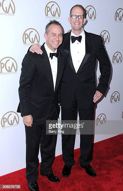 Producers Jonas Rivera and Pete Docter attend the 27th Annual Producers Guild Of America Awards at the Hyatt Regency Century Plaza on January 23 2016...