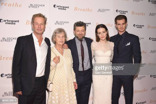 """Producers Jonathan Cavendish, Diana Cavendish, director Andy Serkis and actors Claire Foy and Andrew Garfield attend the """"Breathe"""" New York special..."""