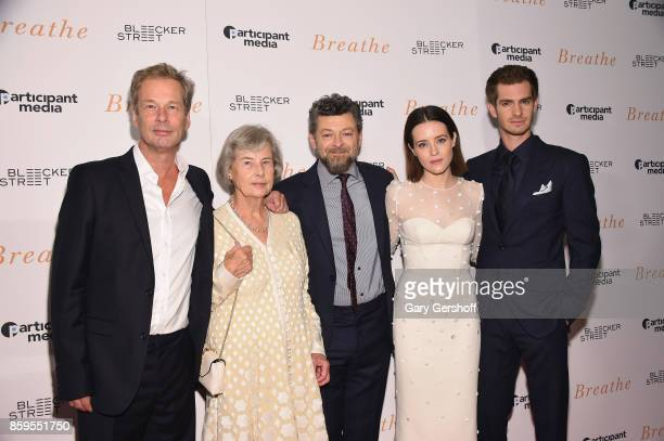 Producers Jonathan Cavendish Diana Cavendish director Andy Serkis and actors Claire Foy and Andrew Garfield attend the Breathe New York special...