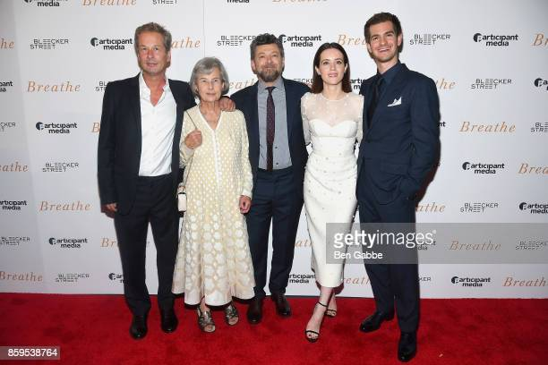 Producers Jonathan Cavendish Diana Cavendish director/actor Andy Serkis actress Claire Foy and actor Andrew Garfield attend the 'Breathe' New York...