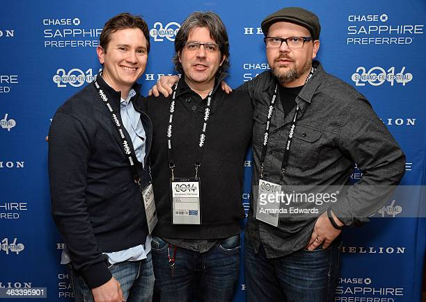 Producers Jonathan Duffy Kelly Williams and David Hansen arrive at the 'Hellion' premiere party at Chase Sapphire on January 17 2014 in Park City Utah