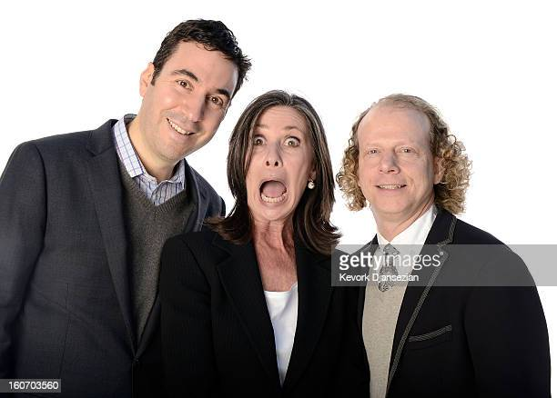 Producers Jonathan Gordon Donna Gigliotti and Bruce Cohen pose for a portrait during the 85th Academy Awards Nominations Luncheon at The Beverly...
