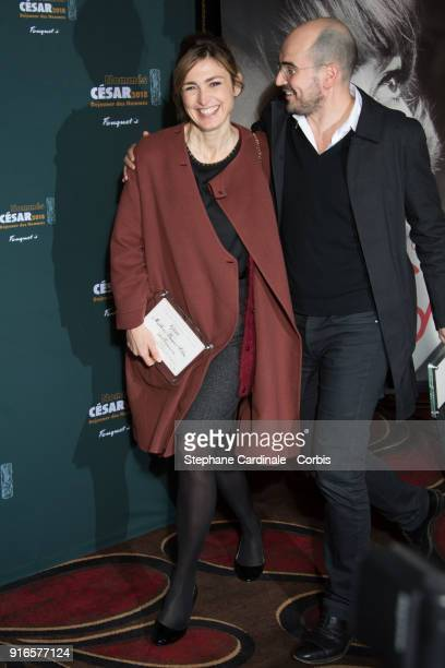 Producers Julie Gayet and Jean des Forets attend the Cesar 2018 Nominee Luncheon at Le Fouquet's on February 10 2018 in Paris France