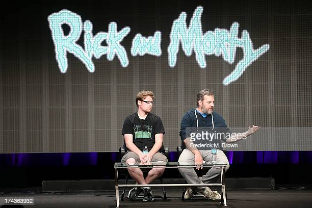 Producers Justin Roiland and Dan Harmon speak onstage during the Adult Swim Rick and Morty panel at the Turner Broadcasting portion of the 2013...