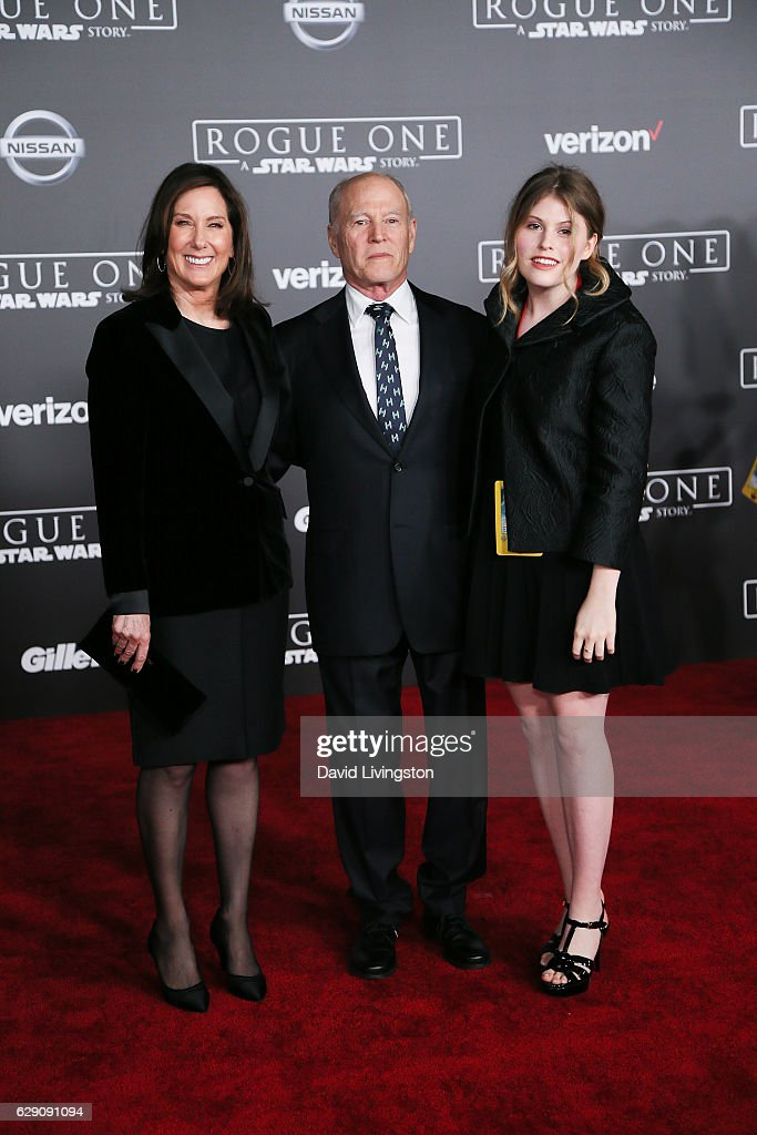 Producers Kathleen Kennedy, Frank Marshall and a guest arrive at the premiere of Walt Disney Pictures and Lucasfilm's 'Rogue One: A Star Wars Story' at the Pantages Theatre on December 10, 2016 in Hollywood, California.