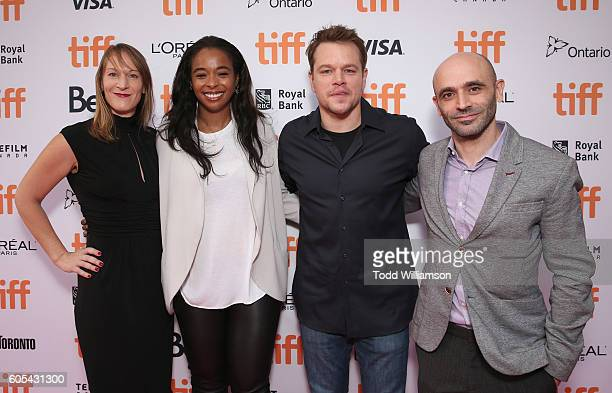 Producers Lauren Beck Kimberly Steward Matt Damon and Josh Godfrey attend Amazon Studios' 'Manchester By The Sea' Toronto International Film Festival...