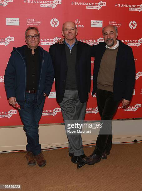 "Producers Lionello Cerri and Giorgio Diritti and director Carlo Brancaleoni attend the ""There Will Come A Day"" premiere at Egyptian Theatre during..."
