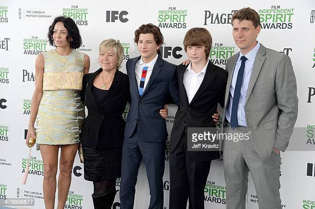 Producers Lisa Maria Falcone and Sarah Green, actors Tye Sheridan and Jacob Lofland, and director Jeff Nichols attends the 2014 Film Independent...
