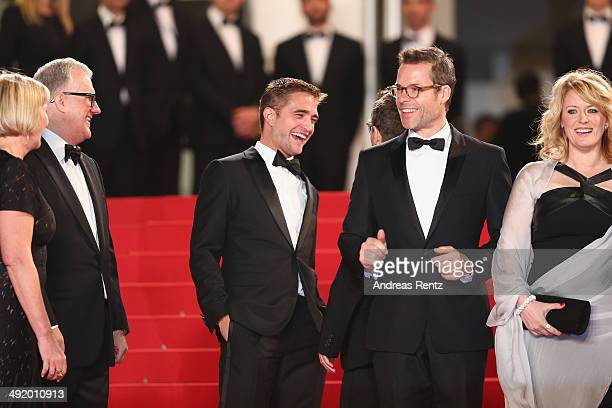 Producers Liz Watts David Linde actor Robert Pattinson director David Michod actor Guy Pierce and Susan Prior attend 'The Rover' premiere during the...