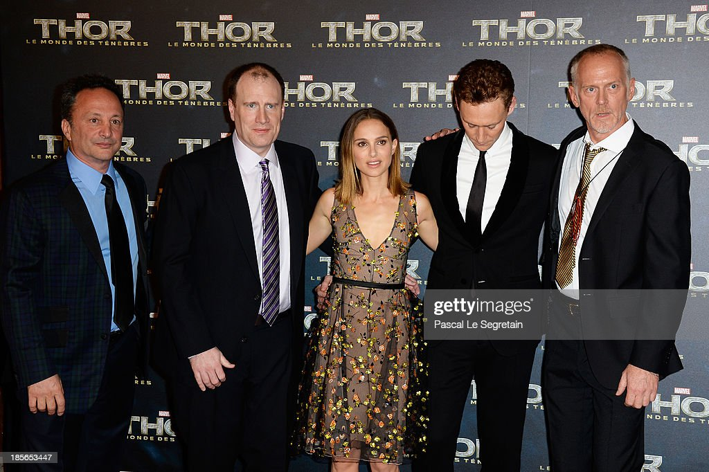 Producers Louis D'Esposito, Kevin Feige, actors Natalie Portman, Tom Hiddleston and director Alan Taylor attend 'Thor: The Dark World' Premiere at Le Grand Rex on October 23, 2013 in Paris, France.