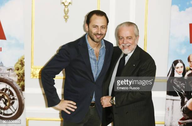 Producers Luigi De Laurentiis and Aurelio De Laurentiis attend the 'Benedetta Follia' photocall at ST Regis Hotel on January 5 2018 in Rome Italy