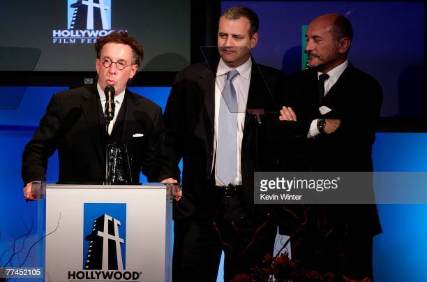 Producers Mark Canton Bernie Goldmann and Gianni Ninnari accept the Best Producers award onstage during the 11th Annual Hollywood Awards held at the...