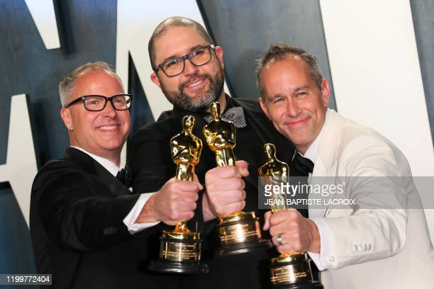 "Producers Mark Nielsen, Josh Cooley and Jonas Rivera, winners of the Oscar the award for Best Animated Feature Film for ""Toy Story 4"", attend the..."