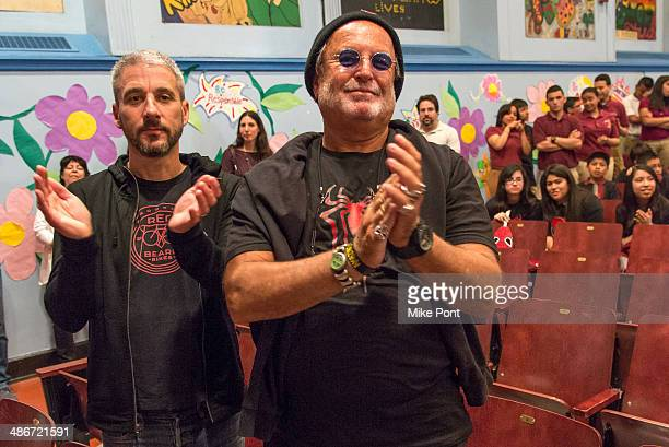 Producers Matt Tolmach and Avi Arad attend The Amazing SpiderMan 2 Be Amazing Day Volunteer Day at IS 145 Joseph Pulitzer on April 25 2014 in the...