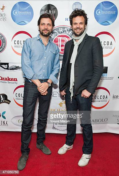 Producers Maxime Delauney and Romain Rousseau arrive at COLCOA French Film Festival Barnes After Party at Heritage Fine Wines on April 24 2015 in...