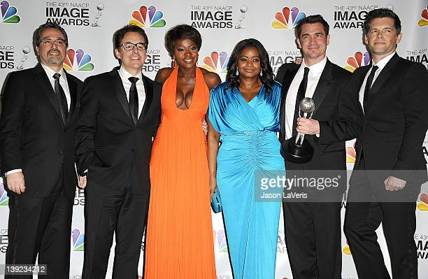 Producers Michael Barnathan Chris Columbus actresses Viola Davis Octavia Spencer and producers Tate Taylor and Brunson Green pose in the press room...