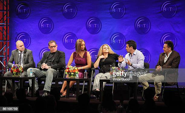 Producers Michael Davies Mike Fleiss Tyra Banks Allison Grodner Arthur Smith and Mark Burnett speak at The Hollywood Radio and Television Society's...