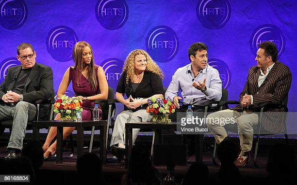 Producers Mike Fleiss Tyra Banks Allison Grodner Arthur Smith and Mark Burnett speak at The Hollywood Radio and Television Society's Newsmaker...