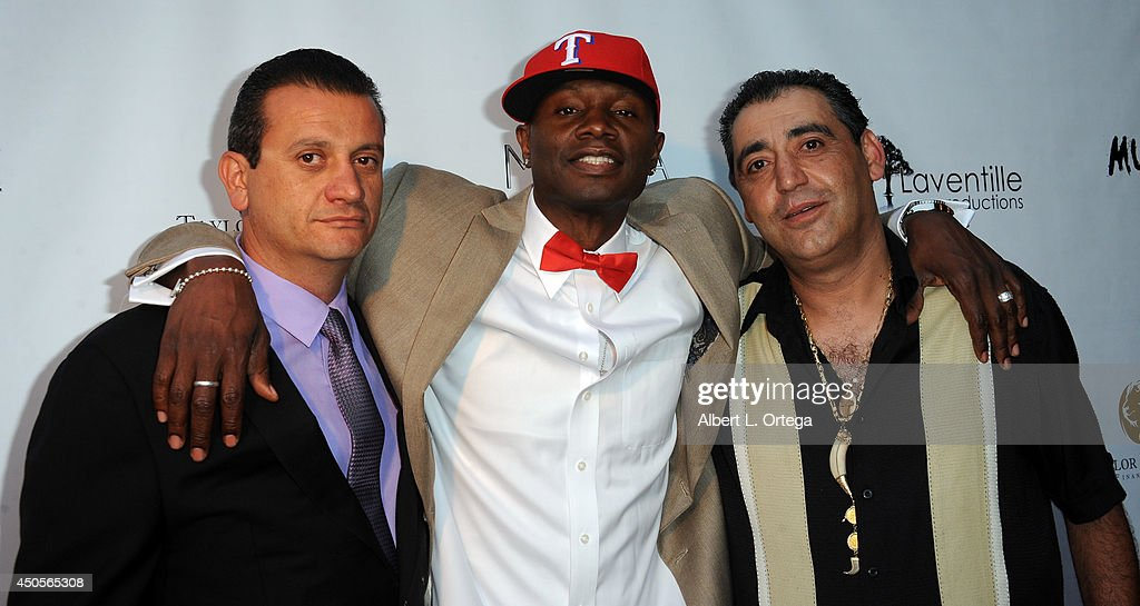 Producers Mike Yaikian, Sheldon Robins and Eric Ohanian arrive for the Premiere Of Upper Laventille's'Murder 101' held at Raleigh Studios' Chaplin Theater on June 12, 2014 in Los Angeles, California.